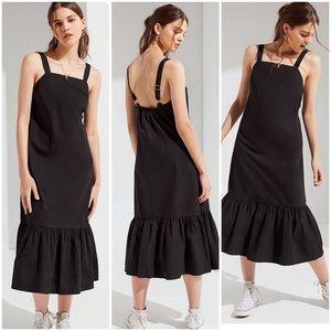 Urban Outfitters Ruffle Hem Overall Midi Dress